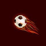 Flying Soccer Ball with Flame. On Dark Red Background. Illustration Royalty Free Stock Photography