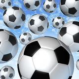 Flying Soccer Balls. In the air falling from the blue sky in many directions as a team sporting concept for international and European football game as a fun Stock Images