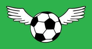 Football, soccer ball illustration. Flying soccer, football ball with wings vector illustration isolated over green grass field. Sport game equipment Royalty Free Stock Photos