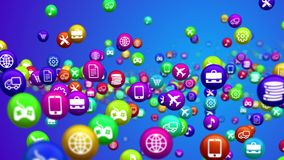 Flying social media multicolored news balls. Impressive 3d rendering of social media services in billiards balls flying all around. All balls are covered with Royalty Free Stock Photography