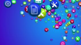 Flying Social Media News Balls. An astonishing 3d rendering of colorful social media news balls winging in the blue background. They are covered with diverse Royalty Free Stock Photos
