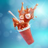 Flying Soda Plastic Cup with Splash Blue Bokeh Background EPS10 vector illustration