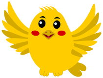 Flying songbird. A yellow illustration Royalty Free Stock Image