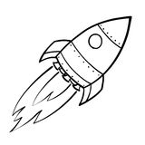 Flying Space Rocket Royalty Free Stock Photos