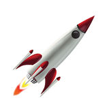 Flying Space Rocket. A flying space rocket, isolated in white background vector illustration
