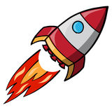 Flying Space Rocket Stock Photography