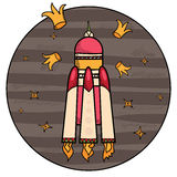 Flying spaceship and crowns Royalty Free Stock Photos