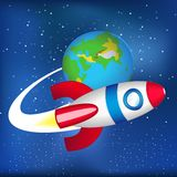 Flying spaceship in space. Vector illustration of flying spaceship in space Stock Photo