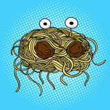 Flying spaghetti monster pop art vector. Flying spaghetti monster pop art style vector illustration. Hand drawn doodle.  Comic book style imitation. Vintage Royalty Free Stock Image