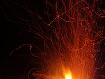 Flying sparks and fire flame Royalty Free Stock Image