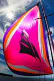 Flying Spinnaker. When the winds are light and coming from behind the boat, a spinnaker can be flown to catch the light winds Stock Images
