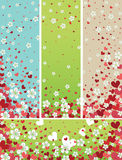 Flying spring flowers and red hearts background Stock Image