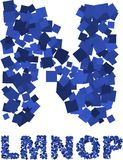 Flying squares font Stock Image