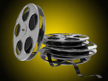 Flying and stack film reel. 3d high quality render Stock Images