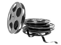 Flying and stack film reel. 3d high quality render Stock Image