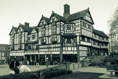 The Flying Standard, JD Wetherspoon Freehouse. ENGLAND, COVENTRY - 01 NOV 2015: The Flying Standard, JD Wetherspoon Freehouse, Tudor construction black and white Royalty Free Stock Images