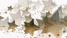 Flying stars in golden color on white. In backgrounds vector illustration