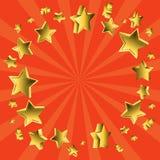 Flying stars sunburst. A sunburst background with flying stars in gold Stock Image