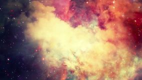 Flying through stellar nebulae and cosmic dust, clusters of cosmic gas and a constellations in deep space