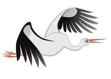 Flying stork. Vector illustration of a flying stork Royalty Free Stock Images