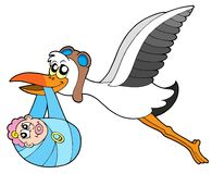 Flying stork delivering baby. Vecotr illustration Royalty Free Stock Photo