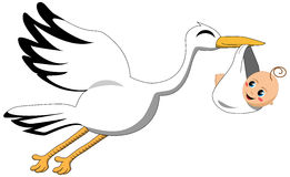 Flying Stork Delivering Baby Isolated. Illustration featuring a flying stork delivering baby isolated white. Eps file is available Stock Image