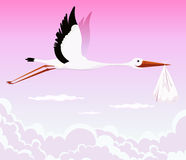Flying Stork Delivering Girl. Illustration of a stork delivering baby girl in a bag for birth announcement, newborn holidays celebration and anniversaries Stock Photography