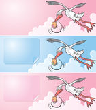 Flying stork delivering a newborn baby Royalty Free Stock Photo