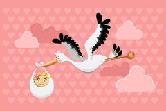 Flying Stork Delivery Baby Girl Stock Images