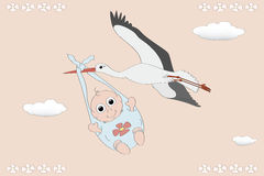 Flying stork with a newborn Royalty Free Stock Photography