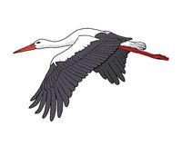 Flying stork, vector illustration Stock Photo