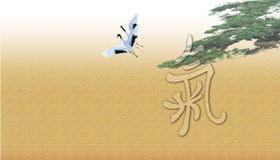 Flying storks Stock Image