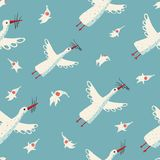 Flying Storks and Children Seamless Pattern Royalty Free Stock Image