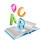 Flying Striped Letters and Open Book Royalty Free Stock Image