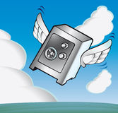 Flying strongbox. Sure where you put your money Royalty Free Stock Images