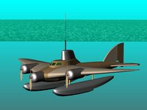Flying submarine. In action. Royalty Free Stock Photos