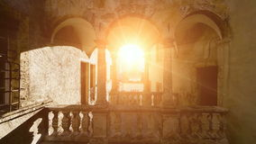 Flying into the sun light. romantic nostalgic architecture. Background stock video footage