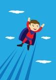 Flying Super Boy Vector Cartoon Illustration Royalty Free Stock Photography