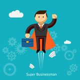 Flying Super Businessman Cartoon Stock Image