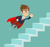 Flying Super businessman in red cape climbing stairs. stock illustration