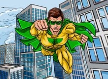 Flying Super Hero City Stock Images