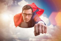 The flying super hero over the city stock images