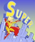 Flying super lady Stock Photo