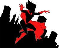 Flying super lady Royalty Free Stock Photo