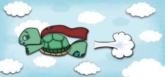 Flying Super Turtle Royalty Free Stock Image