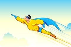 Flying Superhero. Illustration of superhero wearing cape flying in sky Royalty Free Stock Photos