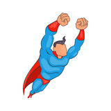 Flying superhero icon, cartoon style. Flying superhero icon in cartoon style isolated on white background Royalty Free Stock Image
