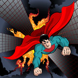 Flying Superhero. Illustration with superhero flying to fight with crime and protect the city drawn in comics style Royalty Free Stock Images