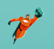 Flying superhero. Power and pride. Original graphics Royalty Free Stock Photography