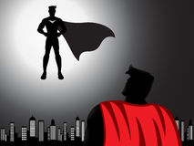 Flying Superhero Ready For Fight Silhouette. A vector flying superhero ready for fight silhouette with shading effects Stock Images